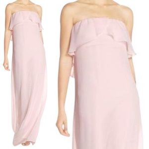 Amsale Nouvelle Holy Strapless Ruffle Chiffon Gown